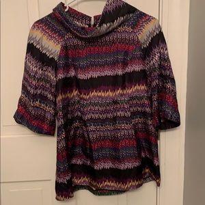 Kensie Multi-colored Cute Blouse - 100% Silk